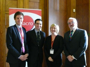 Christopher Stacey (Unlock), Richard Good (Department of Justice), Anne Reid (Jobtrack, NIACRO), and Pat Conway (Director, NIACRO)
